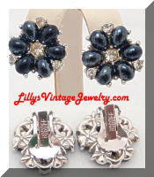 Vintage BOGOFF Hematite Rhinestones Earrings