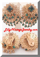 Vintage Golden Filigree Green Rhinestones Dangle Earrings