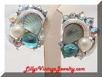 Vintage KARU AB Rhinestones Aqua Shells Earrings