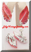LISNER Pink Rhinestones Molded Lucite Leaf Earrings