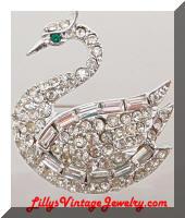 Vintage Clear Pave Rhinestones Swan Brooch