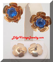 Vintage STERLING Retro Blue Flowers Earrings