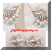 Vintage TRIFARI Silver Pearls Rhinestones Cherries Earrings