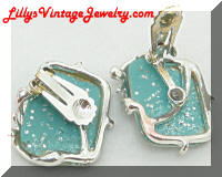 blue confetti vintage earrings