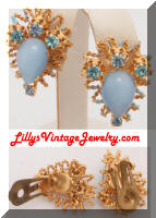 Blue moonglow rhinestones earrings