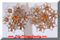 Vintage Gold tone Orange Topaz Rhinestones Earrings