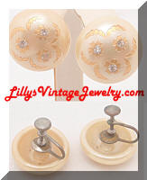 Vintage Cream Gold Plastic Button Earrings