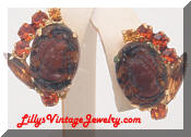 Juliana DeLizza & Elster Cameo Rootbeer earrings