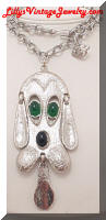 1970's DeLizza & Elster Juliana Cast Dog Pendant Necklace