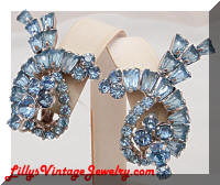 DeLizza and Elster Blue Rhinestone Earrings