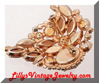 DeLIZZA and Elster Amber Topaz Rhinestones Brooch