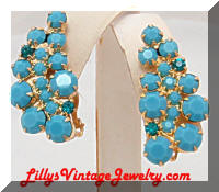 Vintage DeLizza and Elster Turquoise Rhinestone Earrings