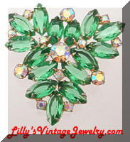 Vintage JULIANA D&E Green AB Rhinestones Triangle Brooch