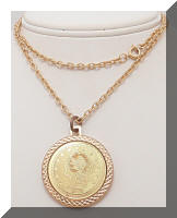 Vintage Golden Bicentennial Coin Pendant Necklace