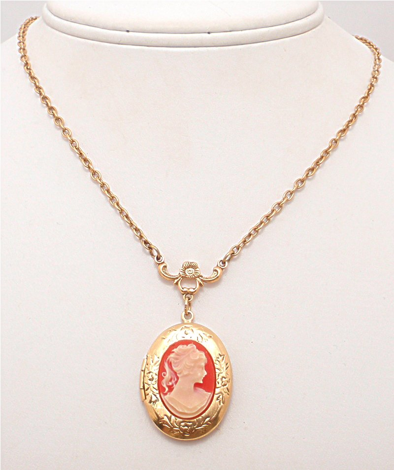 Lillys vintage jewelry signed necklaces vintage 1928 cameo golden locket necklace aloadofball Choice Image