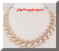 Vintage ART Beige Cabs Enamel Leaf Necklace