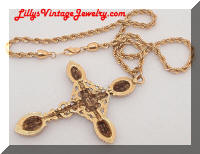 Vintage ART Golden Cross Pendant Necklace