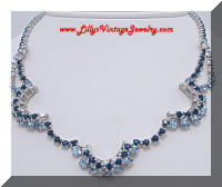 Gorgeous Layered Blue Rhinestones Fringe Necklace