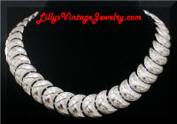 Vintage CORO Textured Silver Crescent Moon Necklace