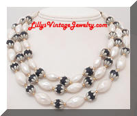 DEAUVILLE Black White Beads Vintage Necklace