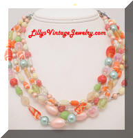 Vintage FLORENZA Glasss Beads 4 Strands Necklace