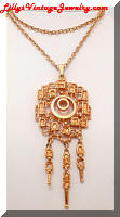 Vintage Golden Nugget Dangle Pendant Necklace