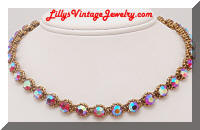 HollyCraft 1958 AB Pink rhinestones Necklace