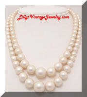 Vintage JAPAN faux Pearls 2 Strand Necklace