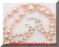 Vintage JAPAN 2 Strands Pale Pink Pearls Beads Necklace