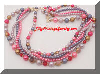 Vintage JAPAN Pink Purple Brown 5 Strand Beads Necklace