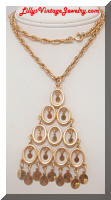 Vintage LISNER Golden Dangles Pendant Necklace