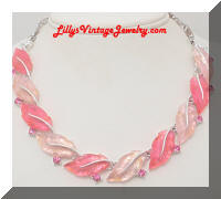 LISNER Pink Rhinestones Molded Lucite Leaf Necklace