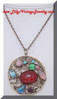 Vintage Multi Stone Gorgeous Pendant Necklace