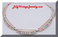 Pretty Pastel Rhinestones Linked Vintage Necklace