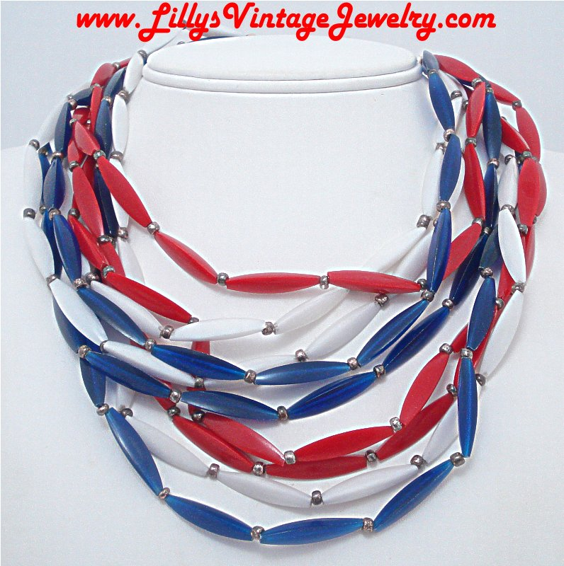Vintage PATRIOTIC multi Strand Plastic Beads Necklace :  necklace necklaces red white blue patriotic