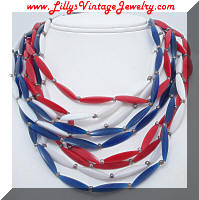 Vintage PATRIOTIC multi Strand Plastic Beads Necklace