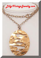 Vintage TRIFARI Golden Abstract Pendant Necklace