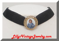 W. GERMANY Boy Blue Portrait Cameo Choker Necklace