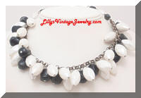 Vintage White Black Dangling Beads Necklace