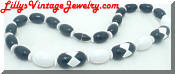 Avon black and white plastic beads necklace