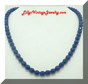 Vintage Cobalt Blue Glass Beads Necklace