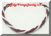 Torsade Deep Red faux Pearls Multi Strand Necklace
