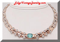 Aqua Rhinestone vintage collar necklace