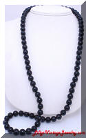 Long Black Glass Beads Vintage Necklace
