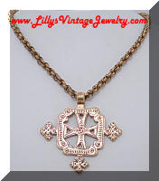 Antiqued Gold tone Maltese Cross Pendant Necklace
