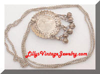 Middle Eastern Silver tone Dangling Bells Pendant Necklace