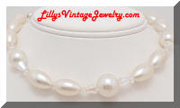 oblong pearls crystals necklace
