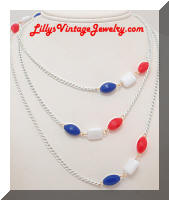 Vintage Long Patriotic Beads Chain Necklace