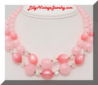 Vintage 2 Strand Pink Moonglow Beaded Necklace
