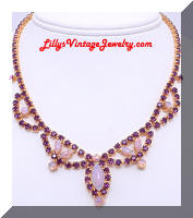 Gorgeous faux Opal Purple Rhinestones Fringe Necklace
